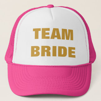 Team Bride Gold Hot Pink Trucker Hat