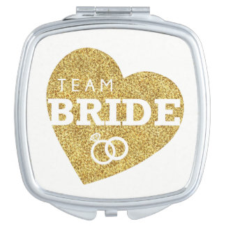 Team Bride Heart Gold Glitter Bridesmaids Shower Vanity Mirrors