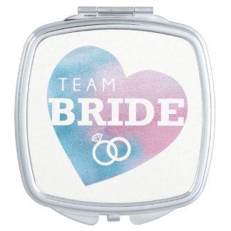 Team Bride Heart Pink Bridesmaids Shower Wedding Travel Mirror