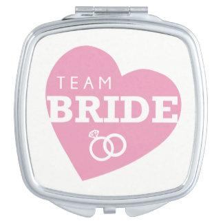 Team Bride Heart Pink Rings Bridesmaids Wedding Mirror For Makeup