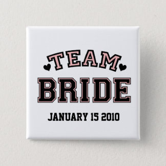 TEAM BRIDE HEARTS 2 INCH SQUARE BUTTON