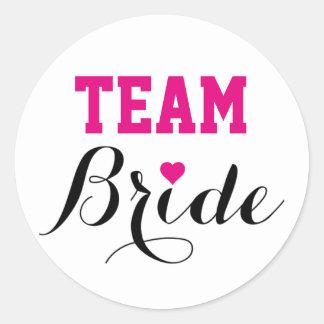 Team Bride Hot Pink Heart Stickers Round