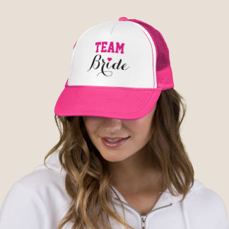Team Bride Hot Pink Heart Trucker Hat Pink