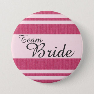 """Team Bride"" In Fancy Italic Dark Grey Font 3 Inch Round Button"