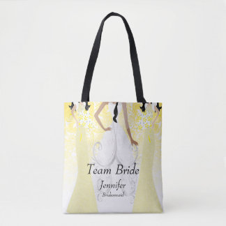 Team Bride in Yellow Tote Bag