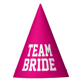 TEAM BRIDE neon pink wedding party hats for adults