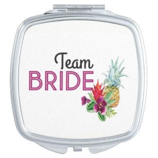 Team Bride Pineapple Bridesmaids Shower Wedding Mirror For Makeup
