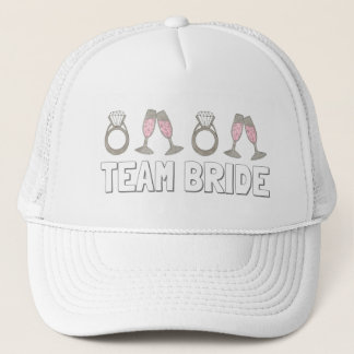 TEAM BRIDE Pink Champagne Ring Bridal Party Hat