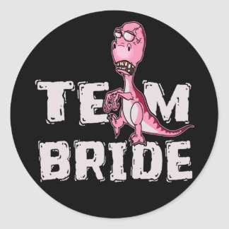 Team Bride Pink Dinosaur Bridal Shower Classic Round Sticker