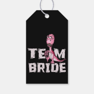 Team Bride Pink Dinosaur Bridal Shower Gift Tags