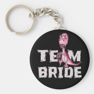 Team Bride Pink Dinosaur Bridal Shower Keychain