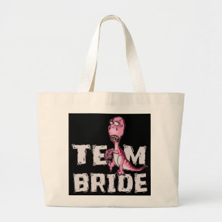 Team Bride Pink Dinosaur Bridal Shower Large Tote Bag