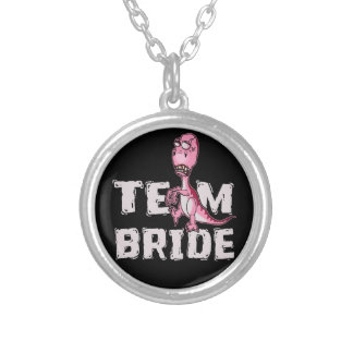 Team Bride Pink Dinosaur Bridal Shower Silver Plated Necklace