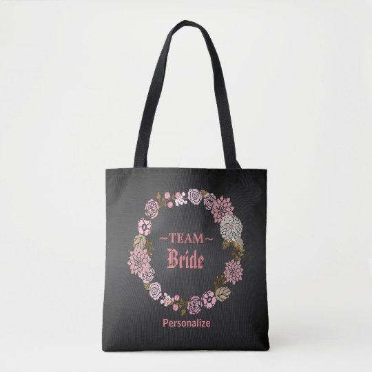 Team Bride Pink Floral Wedding Wreath Tote Bag