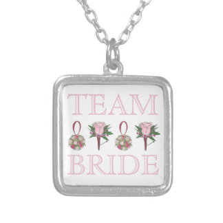 TEAM BRIDE Pink Rose Wedding Bridesmaid Necklace