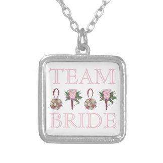 TEAM BRIDE Pink Rose Wedding Bridesmaid Necklace
