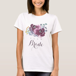 Team Bride PURPLE AQUA WATERCOLOR FLORAL MONOGRAM T-Shirt