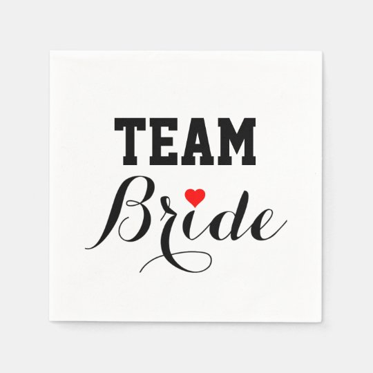 Team Bride Red Heart Napkins Disposable Napkin
