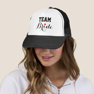 Team Bride Red Heart Trucker Hat Black
