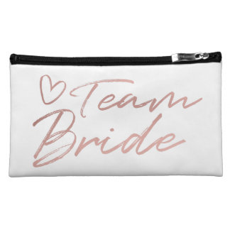 Team Bride - Rose Gold faux foil cosmetic bag