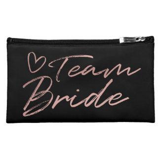 Team Bride - Rose Gold faux foil cosmetic bag