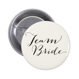 Team Bride Script Calligraphy Wedding Bridal Party 2 Inch Round Button