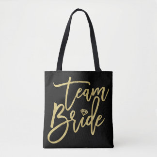 Team Bride Script Diamond Bridal Party Tote Bag