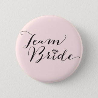 Team Bride Script Diamond Wedding Bridal Party 2 Inch Round Button