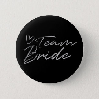 Team Bride - Silver faux foil button