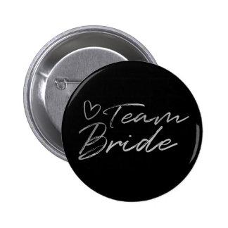 Team Bride - Silver faux foil button