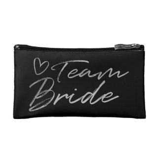 Team Bride - Silver faux foil cosmetic bag