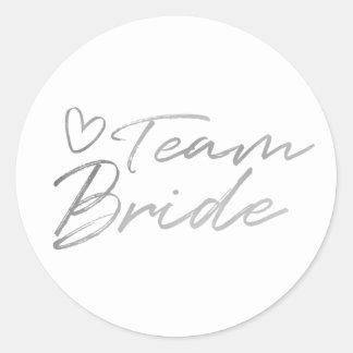 Team Bride - Silver faux foil sticker