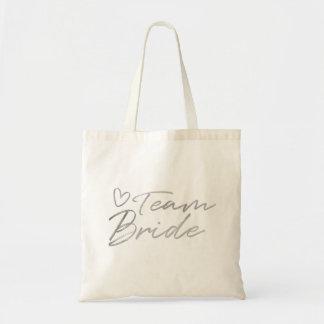 Team Bride - Silver faux foil tote bag