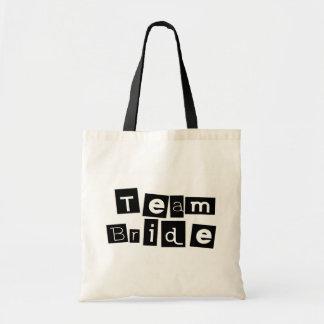Team Bride (Sq Blk) Budget Tote Bag