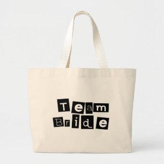 Team Bride (Sq Blk) Jumbo Tote Bag