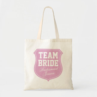 Team Bride tote bag personalized with name