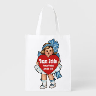 Team Bride Vintage Girl with Heart Reusable Grocery Bag