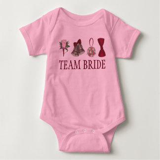 TEAM BRIDE Wedding Bridal Rose Party Flower Girl Baby Bodysuit