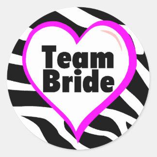 Team Bride (Zebra Print) Classic Round Sticker