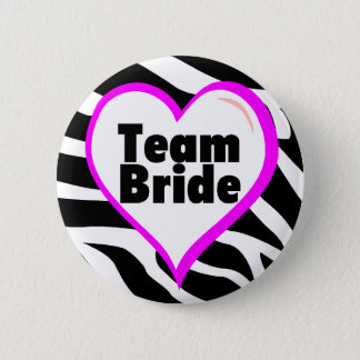 Team Bride Zebra Stripes 2 Inch Round Button