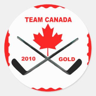 TEAM CANADA-GOLD-STICKER CLASSIC ROUND STICKER