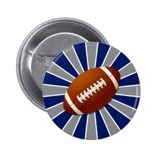 Team Colors Blue and Silver Retro Football 2 Inch Round Button