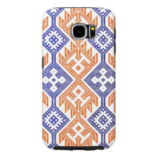 Team Colors Orange Blue and White Textile Sports Samsung Galaxy S6 Cases