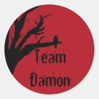 Team Damon Vengeful Crow Classic Round Sticker