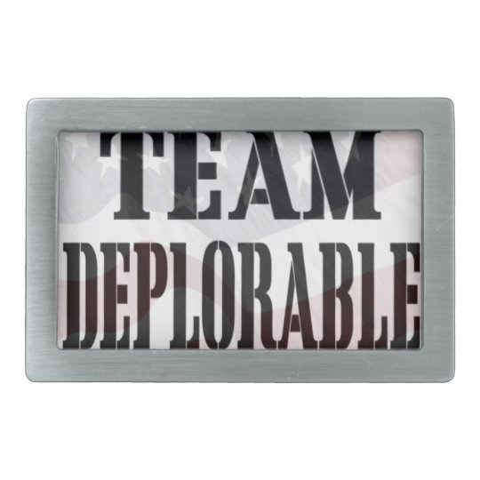 """Team Deplorable"" Rectangular Belt Buckle"