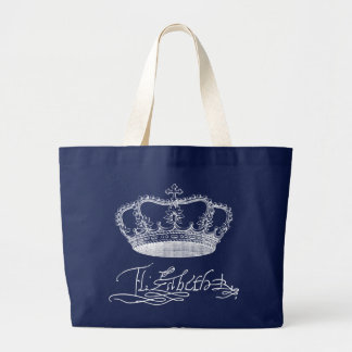 Team Elizabeth - The Queen's Signature and Crown Large Tote Bag