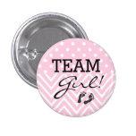 Team Girl Baby Shower Pink 1 Inch Round Button