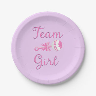 Team Girl Gender Reveal Party Gear Paper Plate