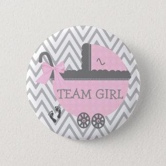 Team Girl Grey Chevron Pink Carriage Baby Shower 2 Inch Round Button