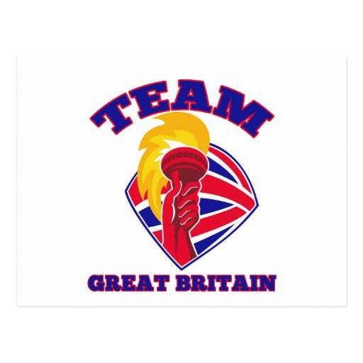 team great britain gb hand hold flaming torch brit postcards